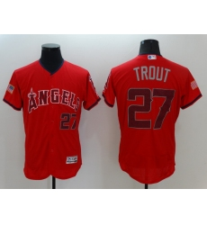 Men's Los Angeles Angels of Anaheim #27 Mike Trout Authentic Red Independent Jersey