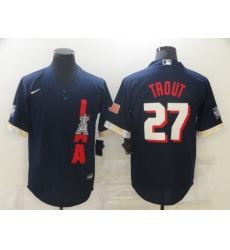 Men's Los Angeles Angels of Anaheim #27 Mike Trout Navy 2021 All-Star Game Replica Player Jersey