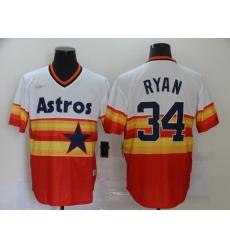 Men's Nike Houston Astros #34 Nolan Ryan Authentic White-Orange Throwback Jersey