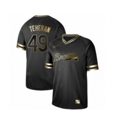 Men's Atlanta Braves #49 Julio Teheran Authentic Black Gold Fashion Baseball Jersey