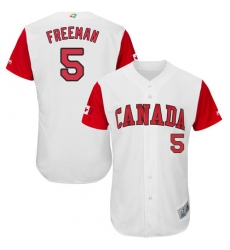 Men's Canada Baseball Majestic #5 Freddie Freeman White 2017 World Baseball Classic Authentic Team Jersey
