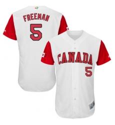 Men's Canada Baseball Majestic #5 Freddie Freeman White 2017 World Baseball Classic Authentic Team Jersey