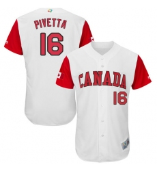 Men's Canada Baseball Majestic #16 Nick Pivetta White 2017 World Baseball Classic Authentic Team Jersey