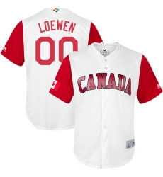 Men's Canada Baseball Majestic #00 Adam Loewen White 2017 World Baseball Classic Replica Team Jersey