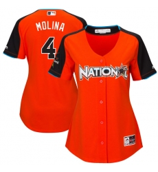 Women's Majestic St. Louis Cardinals #4 Yadier Molina Authentic Orange National League 2017 MLB All-Star MLB Jersey