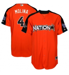 Youth Majestic St. Louis Cardinals #4 Yadier Molina Replica Orange National League 2017 MLB All-Star MLB Jersey