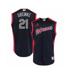 Men's Arizona Diamondbacks #21 Zack Greinke Authentic Navy Blue National League 2019 Baseball All-Star Jersey