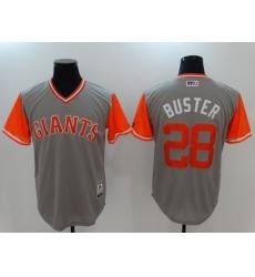 Men's San Francisco Giants #28 Buster Posey Gray Alternate Stitched Baseball Jersey