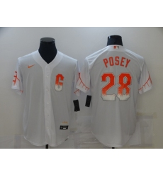 Men's San Francisco Giants #28 Buster Posey Nike White 2021 City Connect Replica Player Jersey