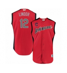 Men's Cleveland Indians #12 Francisco Lindor Authentic Red American League 2019 Baseball All-Star Jersey