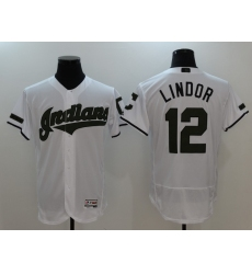 Men's Cleveland Indians #12 Francisco Lindor White Home Stitched Baseball Jersey
