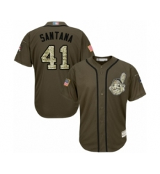 Men's Cleveland Indians #41 Carlos Santana Authentic Green Salute to Service Baseball Jersey