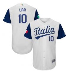 Men's Italy Baseball Majestic #10 Alex Liddi White 2017 World Baseball Classic Authentic Team Jersey