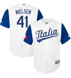Men's Italy Baseball Majestic #41 Trey Nielsen White 2017 World Baseball Classic Replica Team Jersey