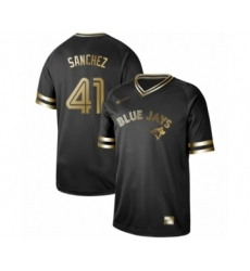 Men's Toronto Blue Jays #41 Aaron Sanchez Authentic Black Gold Fashion Baseball Jersey
