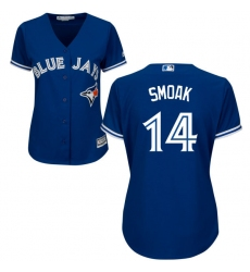 Women's Majestic Toronto Blue Jays #14 Justin Smoak Authentic Blue Alternate MLB Jersey