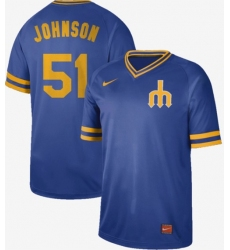 Men's Nike Seattle Mariners #51 Randy Johnson Royal Authentic Cooperstown Collection Stitched Baseball Jersey