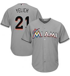 Men's Majestic Miami Marlins #21 Christian Yelich Replica Grey Road Cool Base MLB Jersey