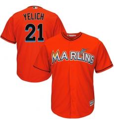 Men's Majestic Miami Marlins #21 Christian Yelich Replica Orange Alternate 1 Cool Base MLB Jersey