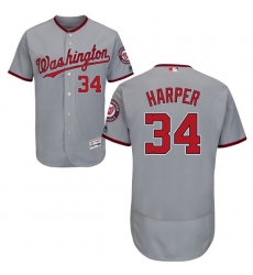 Men's Majestic Washington Nationals #34 Bryce Harper Grey Road Flex Base Authentic Collection MLB Jersey