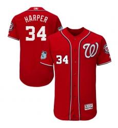 Men's Majestic Washington Nationals #34 Bryce Harper Scarlet 2017 Spring Training Authentic Collection Flex Base MLB Jersey