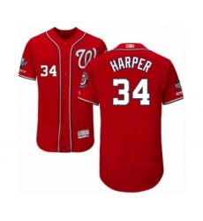 Men's Washington Nationals #34 Bryce Harper Red Alternate Flex Base Authentic Collection 2019 World Series Champions Baseball Jersey