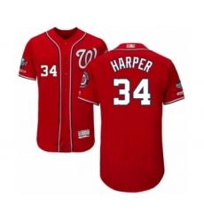 Men's Washington Nationals #34 Bryce Harper Red Alternate Flex Base Authentic Collection 2019 World Series Champions Baseball Jersey
