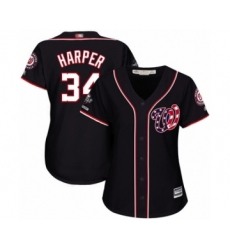 Women's Washington Nationals #34 Bryce Harper Authentic Navy Blue Alternate 2 Cool Base 2019 World Series Champions Baseball Jersey