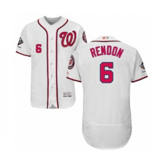Men's Washington Nationals #6 Anthony Rendon White Home Flex Base Authentic Collection 2019 World Series Champions Baseball Jersey