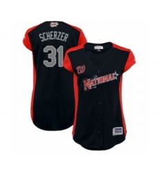 Women's Washington Nationals #31 Max Scherzer Authentic Navy Blue National League 2019 Baseball All-Star Jersey