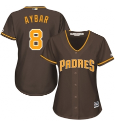 Women's San Diego Padres #8 Erick Aybar Brown Alternate Stitched MLB Jersey