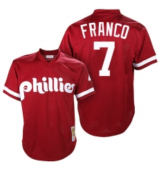 Men's Mitchell and Ness Philadelphia Phillies #7 Maikel Franco Authentic Red Throwback MLB Jersey