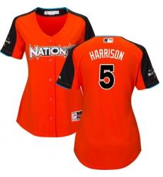Women's Majestic Pittsburgh Pirates #5 Josh Harrison Replica Orange National League 2017 MLB All-Star MLB Jersey