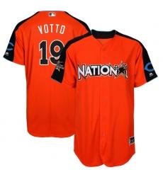 Men's Majestic Cincinnati Reds #19 Joey Votto Authentic Orange National League 2017 MLB All-Star MLB Jersey