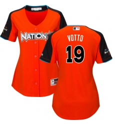 Women's Majestic Cincinnati Reds #19 Joey Votto Replica Orange National League 2017 MLB All-Star MLB Jersey