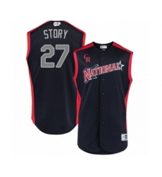 Youth Colorado Rockies #27 Trevor Story Authentic Navy Blue National League 2019 Baseball All-Star Jersey