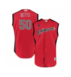 Men's Boston Red Sox #50 Mookie Betts Authentic Red American League 2019 Baseball All-Star Jersey