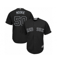 Men's Boston Red Sox #50 Mookie Betts  Mookie Authentic Black 2019 Players Weekend Baseball Jersey
