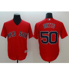 Men's Boston Red Sox #50 Mookie Betts Red Authentic Stitched Jersey