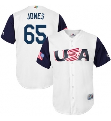 Men's USA Baseball Majestic #65 Nate Jones White 2017 World Baseball Classic Replica Team Jersey