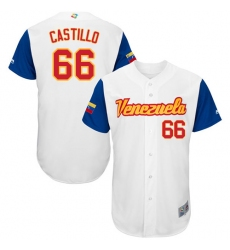 Men's Venezuela Baseball Majestic #66 Jose Castillo White 2017 World Baseball Classic Authentic Team Jersey