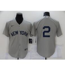 Men's Nike New York Yankees #2 Derek Jeter Authentic Gray Game Jersey