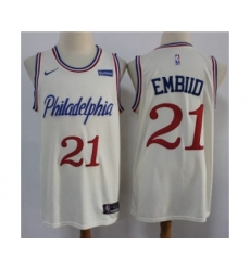 Men's 76ers #21 Joel Embiid Cream New City Edition Swingman Basketball Jersey