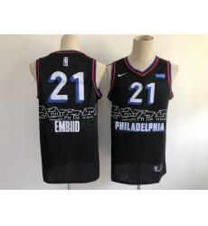 Men's Philadelphia 76ers #21 Joel Embiid Nike Black 2020-21 Swingman Jersey