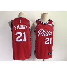 Men's Philadelphia 76ers #21 Joel Embiid Red Basketball Swingman Jersey
