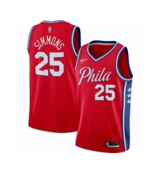 Men's Philadelphia 76ers #25 Ben Simmons Authentic Red Finished Basketball Jersey - Statement Edition