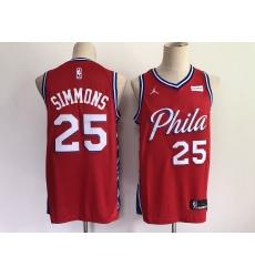 Men's Philadelphia 76ers #25 Ben Simmons Red Basketball Swingman Jersey