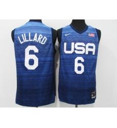 Men's Portland Trail Blazers #6 Damian Lillard Blue USA Basketball Tokyo Olympics 2021 Jersey