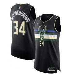Men's Milwaukee Bucks #34 Giannis Antetokounmpo Jordan Brand Black 2020-21 Authentic Swingman Jersey