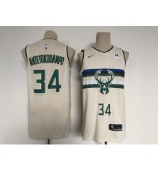 Men's Milwaukee Bucks #34 Giannis Antetokounmpo Swingman Cream City Player Jersey